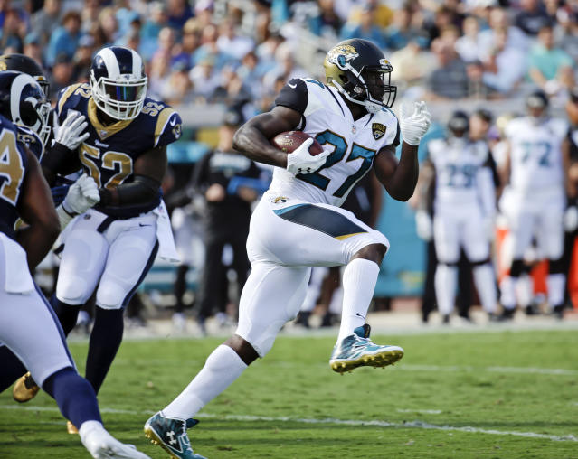 Not running this week: the Jaguars have benched rookie Leonard Fournette for violation of team rules. (AP)