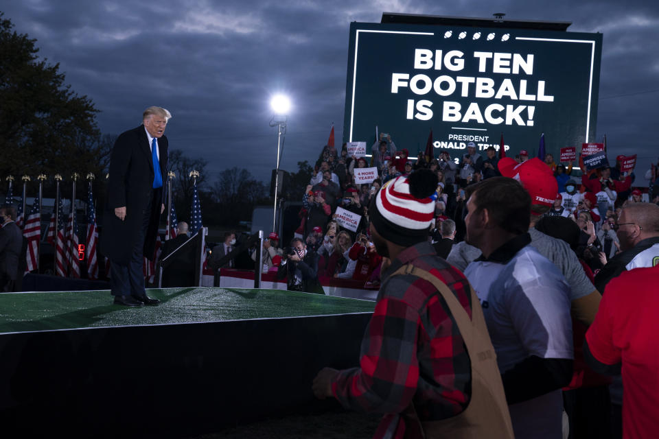 President Donald Trump speaks during a campaign rally at Pickaway Agricultural and Event Center, Saturday, Oct. 24, 2020, in Circleville, Ohio. (AP Photo/Evan Vucci)