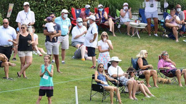 PHOTO: Course residents watch play on the eighth green during the final round of the Travelers Championship at TPC River Highlands on June 28, 2020, in Cromwell, Conn. (Rob Carr/Getty Images, FILE)