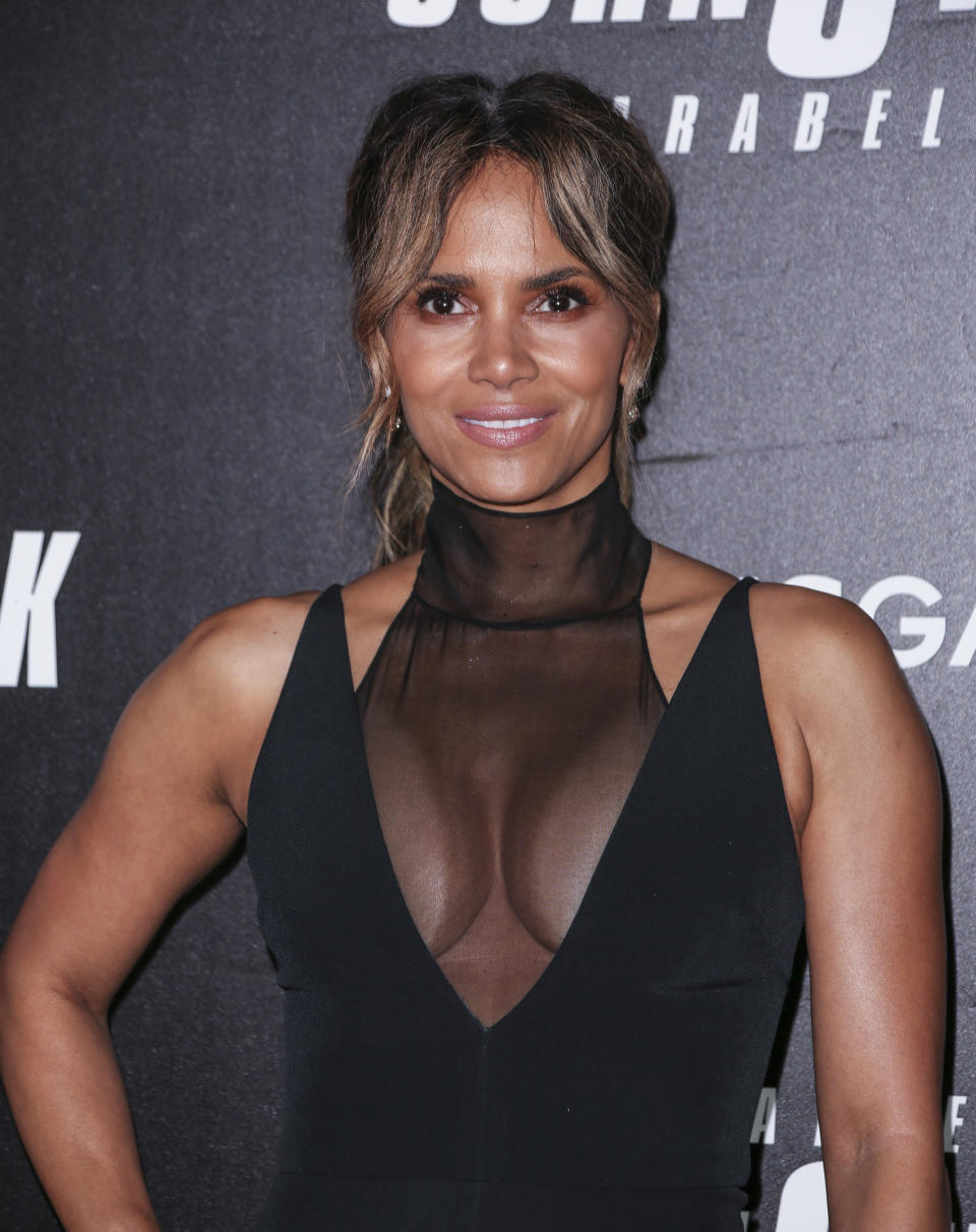 """Halle Berry wearing dress by Cushnie Et Ochs attends the """"John Wick: Chapter 3"""" world premiere at One Hanson Place."""
