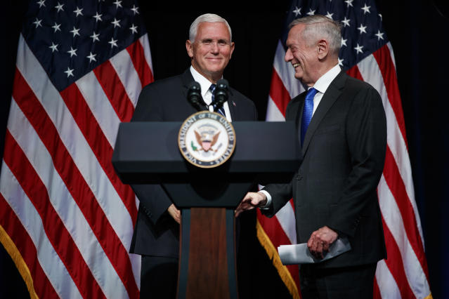 Secretary of Defense James Mattis introduces Vice President Mike Pence during an event on the creation of a United States Space Force, Aug. 9, 2018, at the Pentagon. Pence says the time has come to establish a new United States Space Force to ensure America's dominance in space amid heightened threats from China and Russia. (Photo: Evan Vucci/AP)