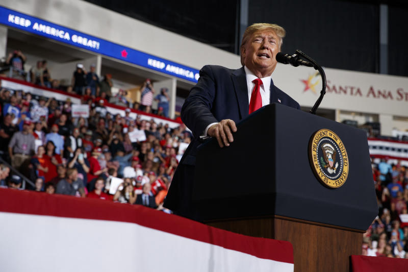 President Donald Trump speaks during a campaign rally at the Santa Ana Star Center, Monday, Sept. 16, 2019, in Rio Rancho, N.M. (AP Photo/Evan Vucci)