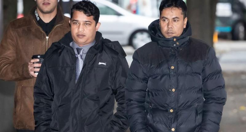 Mr Rashid (left) and Mr Kuddus arriving at Manchester Crown Court during the trial relating to the nut allergy case