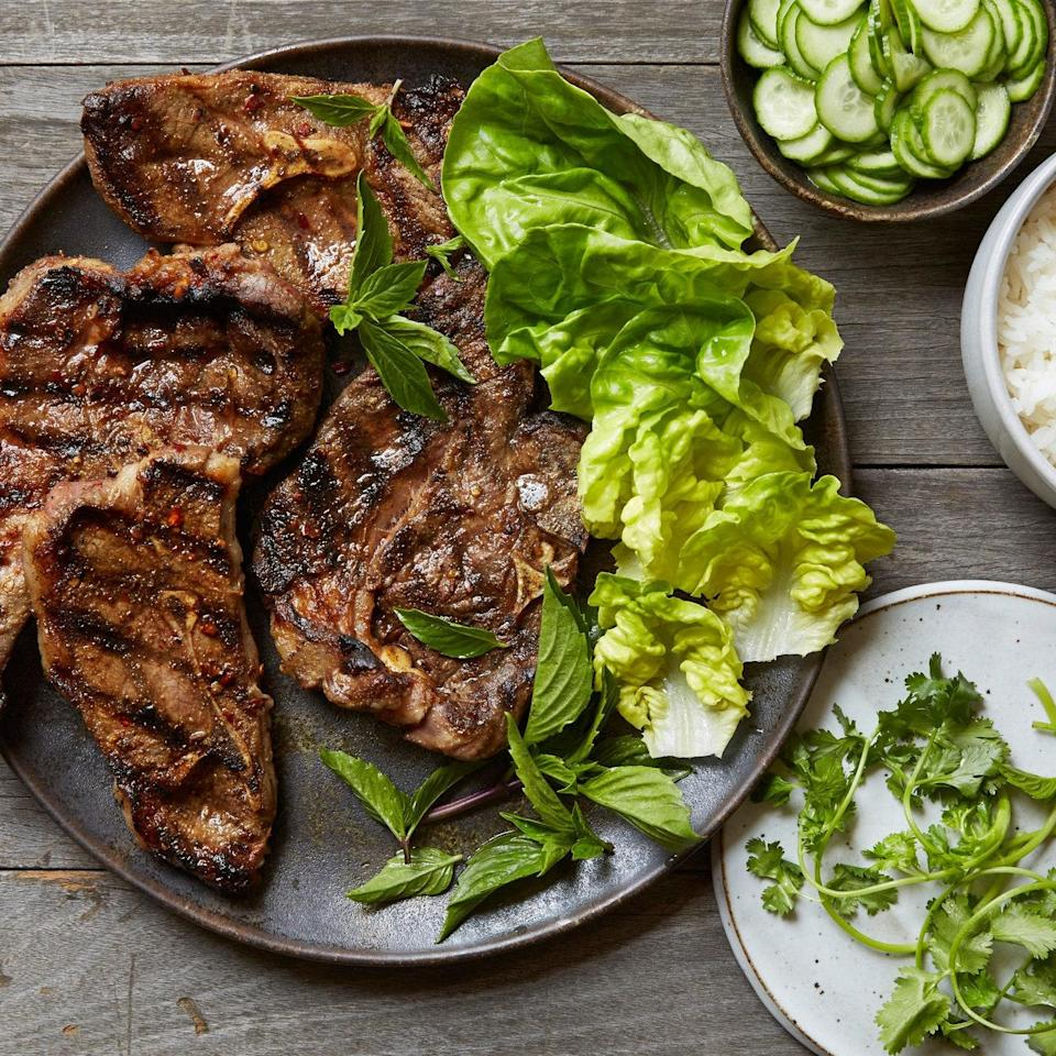 """Quick pickled cucumbers tame the heat of this otherwise fiery dish, which calls for lamb shoulder blade chops—an underrated cut, and <a href=""""https://www.epicurious.com/ingredients/why-we-love-cooking-with-lamb-blade-chops-article?mbid=synd_yahoo_rss"""" rel=""""nofollow noopener"""" target=""""_blank"""" data-ylk=""""slk:an Epi fave"""" class=""""link rapid-noclick-resp"""">an Epi fave</a>, that's flavorful and inexpensive. <a href=""""https://www.epicurious.com/recipes/food/views/grilled-sichuan-cumin-lamb-chops-with-quick-pickled-cucumbers-51239210?mbid=synd_yahoo_rss"""" rel=""""nofollow noopener"""" target=""""_blank"""" data-ylk=""""slk:See recipe."""" class=""""link rapid-noclick-resp"""">See recipe.</a>"""