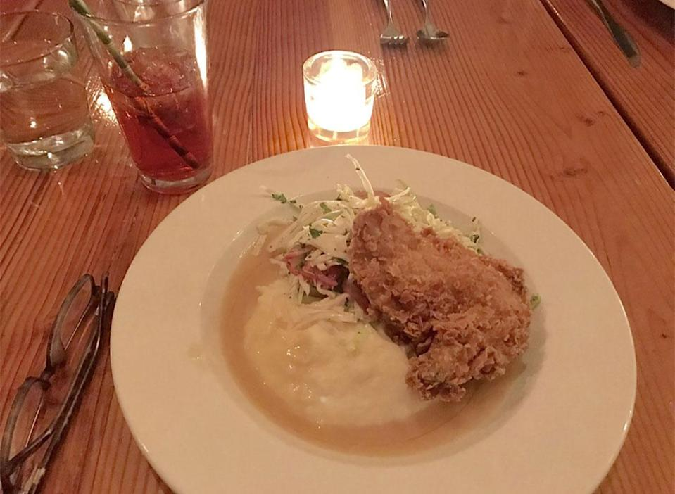 plate of fried chicken with mashed potatoes and coleslaw
