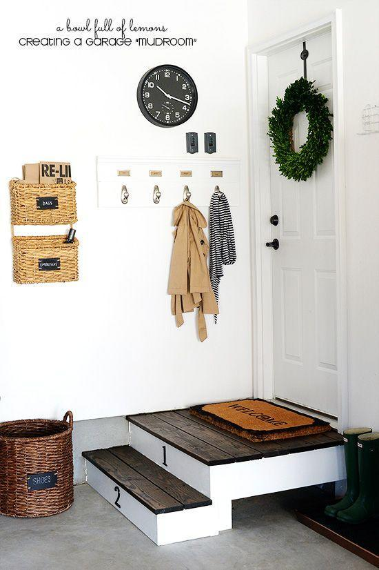 """<p>Garage mudrooms don't have to be complicated to help you get organized. The hooks help, and we adore those smart-looking wicker baskets complete with labels to ensure everything ends up where it should be. </p><p><strong>Get the tutorial at <a href=""""http://www.abowlfulloflemons.net/2014/11/how-to-create-a-garage-mudroom.html"""" rel=""""nofollow noopener"""" target=""""_blank"""" data-ylk=""""slk:A Bowl Full of Lemons"""" class=""""link rapid-noclick-resp"""">A Bowl Full of Lemons</a>.</strong></p><p><a class=""""link rapid-noclick-resp"""" href=""""https://www.amazon.com/MyGift-Hanging-Mounted-Basket-Rustic/dp/B00JKXE9N2/ref=sr_1_7?tag=syn-yahoo-20&ascsubtag=%5Bartid%7C10050.g.36449426%5Bsrc%7Cyahoo-us"""" rel=""""nofollow noopener"""" target=""""_blank"""" data-ylk=""""slk:SHOP WICKER BASKETS"""">SHOP WICKER BASKETS</a></p>"""