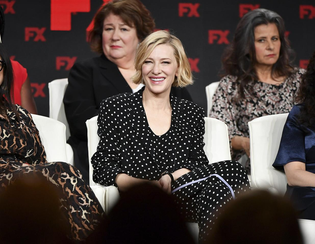 The cast ofFX's <em>Mrs. America, </em>Uzo Aduba, Stacey Sher, Margo Martindale, Cate Blanchett, Tracey Ullman and Dahvi Waller, speak during the 2020 Winter TCA Tour in Pasadena, California on Thursday.