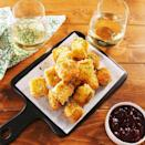 """<p>Don't get us wrong—we love baked <a href=""""https://www.delish.com/uk/cooking/recipes/a31219765/bloomin-brie-bread-recipe/"""" rel=""""nofollow noopener"""" target=""""_blank"""" data-ylk=""""slk:brie"""" class=""""link rapid-noclick-resp"""">brie</a>. But it's not the most exciting party app. Fried brie, on the other hand, is absolutely INSANE. This recipe is super easy, but you will need to plan ahead. The brie needs to freeze for a good hour, otherwise, it'll melt like cray in the hot oil.</p><p>Get the <a href=""""https://www.delish.com/uk/cooking/recipes/a31277445/fried-brie-bites-recipe/"""" rel=""""nofollow noopener"""" target=""""_blank"""" data-ylk=""""slk:Fried Brie Bites"""" class=""""link rapid-noclick-resp"""">Fried Brie Bites</a> recipe.</p>"""