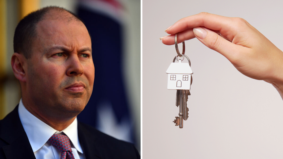 Federal Treasurer Josh Frydenberg appears on the left. He is smirking. On the right, a hand is holding a set of silver house keys with a house charm hanging from it.