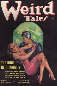 Magazine cover with illustration of man carrying scared woman.