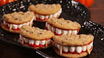 """<p>Chomp down on this easy recipe that comes together with a few mini marshmallows, chocolate chip cookies, and red frosting.</p><p><em><a href=""""https://www.delish.com/cooking/recipe-ideas/recipes/a55668/dracula-dentures-recipe/"""" rel=""""nofollow noopener"""" target=""""_blank"""" data-ylk=""""slk:Get the recipe from Delish »"""" class=""""link rapid-noclick-resp"""">Get the recipe from Delish »</a></em></p>"""
