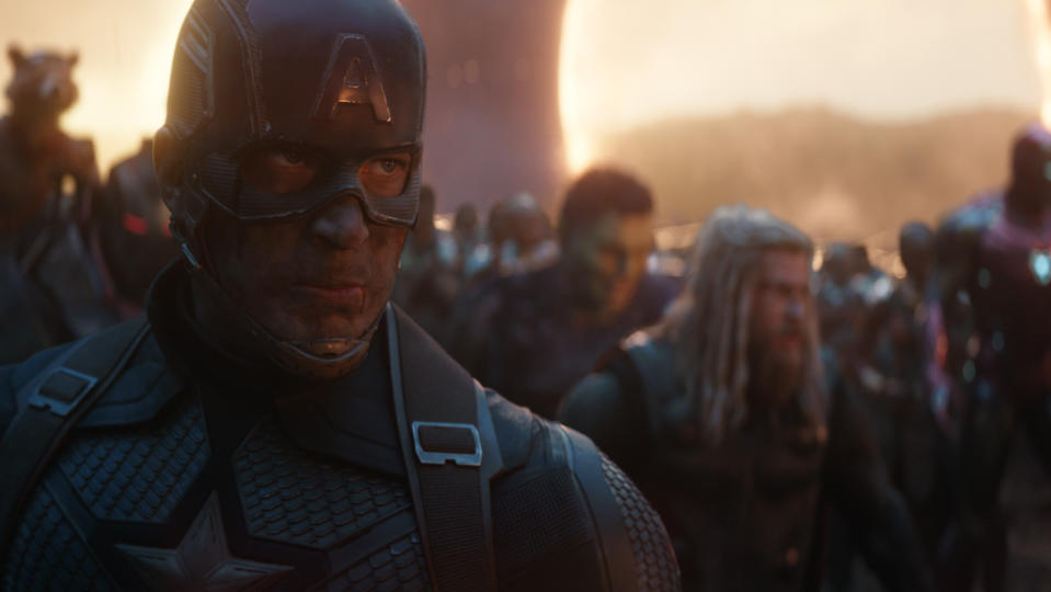 """Much like Thanos, this number one spot was inevitable. The culmination of a decade of storytelling, <em>Endgame</em> is an achievement that's as epic in ambition as it is in length at more than three hours. It's a time-travelling odyssey in which old faces fall so new ones can rise, ushering in a new era for the MCU and becoming the <a href=""""https://uk.movies.yahoo.com/avengers-endgame-passes-avatar-to-become-highest-grossing-movie-081506222.html"""" data-ylk=""""slk:highest-grossing film of all time;outcm:mb_qualified_link;_E:mb_qualified_link;ct:story;"""" class=""""link rapid-noclick-resp yahoo-link"""">highest-grossing film of all time</a> in the process. We love it 3,000. (Credit: Marvel)"""