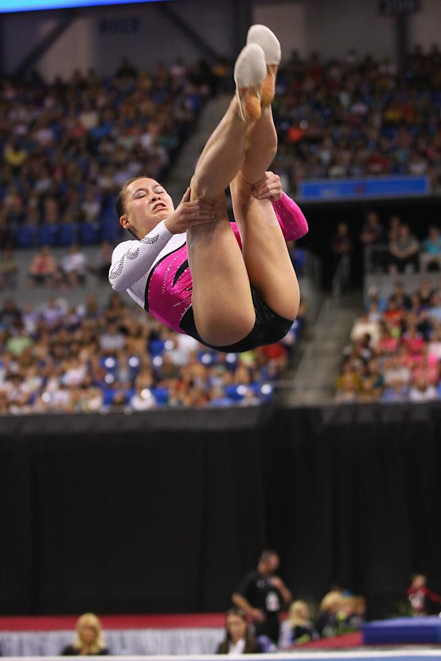 ST. LOUIS, MO - JUNE 10: Sarah Finnegan competes in the floor event during the Senior Women's competition on day four of the Visa Championships at Chaifetz Arena on June 10, 2012 in St. Louis, Missouri.  (Photo by Dilip Vishwanat/Getty Images)