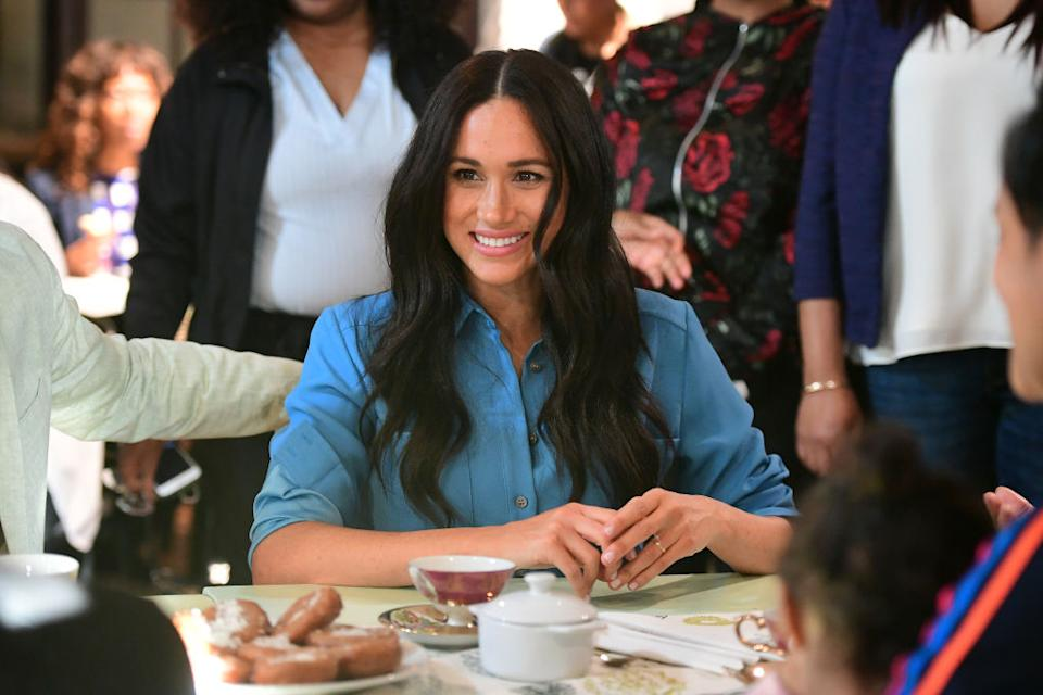The Duchess of Sussex has yet to wear her engagement ring while on the royal tour of South Africa [Photo: Getty]