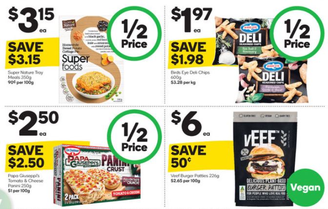 Groceries selling at half-price at Woolworths.