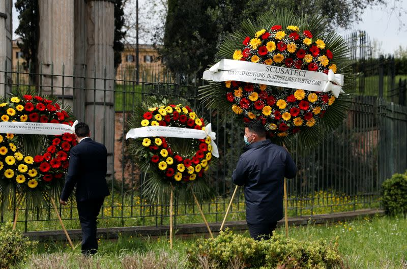 Rome's cemeteries run out of space to store coffins ahead of funerals as a back-log in services due to COVID-19 restrictions has slowed down the pace for burials