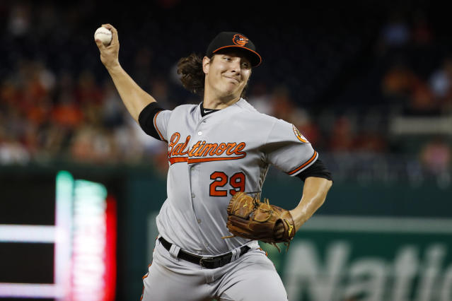 Baltimore Orioles starting pitcher Asher Wojciechowski throws during the third inning of the team's baseball game against the Washington Nationals at Nationals Park on Wednesday, Aug. 28, 2019, in Washington. (AP Photo/Alex Brandon)