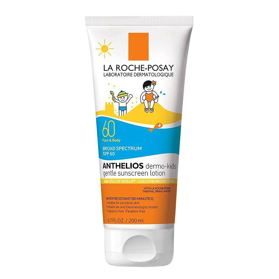 """<p><strong>La Roche-Posay</strong></p><p>amazon.com</p><p><strong>$19.99</strong></p><p><a href=""""https://www.amazon.com/dp/B01MR6N3PL?tag=syn-yahoo-20&ascsubtag=%5Bartid%7C2089.g.35913739%5Bsrc%7Cyahoo-us"""" rel=""""nofollow noopener"""" target=""""_blank"""" data-ylk=""""slk:Shop Now"""" class=""""link rapid-noclick-resp"""">Shop Now</a></p><p>This dermatologist-tested sunscreen by La Roche-Posay is the result of years of research and science packed into a single bottle. Created with a sun-filtering technology of <a href=""""https://phamix.com/tag/cell-ox-shield/"""" rel=""""nofollow noopener"""" target=""""_blank"""" data-ylk=""""slk:CellOx Shield"""" class=""""link rapid-noclick-resp"""">CellOx Shield</a>, you can feel assured knowing that your kid's skin is being protected from harmful UVA and UVB rays. </p><p>The super light formula has a dreamy lotion-like texture that absorbed into Miles' skin effortlessly. Thanks to the light consistency, we both found it very easy to apply. I could definitely trust Miles to put it on himself and not worry that he missed large patches of skin. If you like the classic sunscreen scent — which Miles described as having the smell of water — then you definitely won't mind the slight fragrance.<br></p><p>I didn't notice much of a white cast left behind which I loved and, even though it absorbed into his skin very well, it didn't seem like it needed to be reapplied constantly. If you are a parent that values more natural, mineral-based options that have active ingredients like zinc oxide or titanium dioxide, the La Roche-Posay sunscreen does use <a href=""""https://www.ewg.org/sunscreen/report/the-trouble-with-sunscreen-chemicals/"""" rel=""""nofollow noopener"""" target=""""_blank"""" data-ylk=""""slk:chemical UV filters that you may want to keep in mind"""" class=""""link rapid-noclick-resp"""">chemical UV filters that you may want to keep in mind</a>. </p>"""