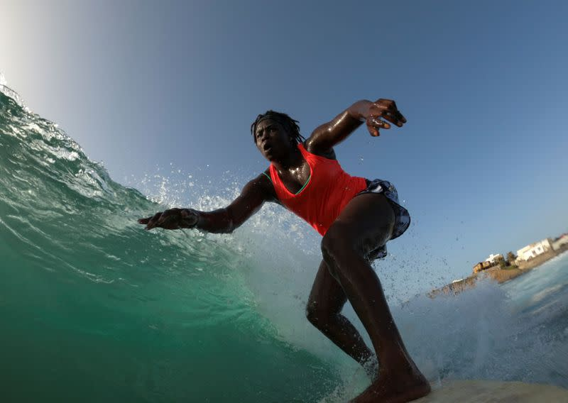 Senegal's first female pro surfer draws others in her wake