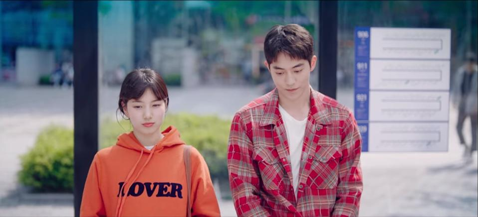 Nam Do San (Nam Joo Hyuk, right) tries to deflect the fact that he is not really who Seo Dal Mi (Bae Suzy) thinks he is in Start-Up.