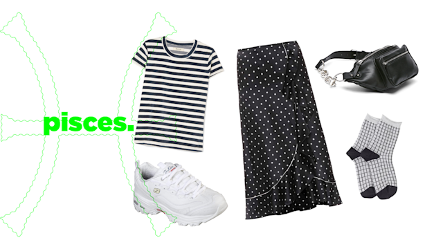 "<p>Pisces's otherworldly nature makes you gravitate to all things fun and daring, so this spring you should be all about mixed prints paired together. Polka dots with stripes, animal prints with checkers — no matter which combo you decide to style, don't think twice about it: Just do it, like <a href=""https://www.vogue.com/fashion-shows/spring-2018-ready-to-wear/emporio-armani/slideshow/collection#3"" rel=""nofollow noopener"" target=""_blank"" data-ylk=""slk:Emporio Armani"" class=""link rapid-noclick-resp"">Emporio Armani</a>'s and <a href=""https://www.vogue.com/fashion-shows/fall-2018-ready-to-wear/burberry-prorsum/slideshow/collection#2"" rel=""nofollow noopener"" target=""_blank"" data-ylk=""slk:Burberry"" class=""link rapid-noclick-resp"">Burberry</a>'s spring/summer '18 collections.<br><br>Ganni, Polka-dot Silk Satin Skirt, $395, <a href=""https://www.mytheresa.com/en-us/ganni-polka-dot-silk-satin-skirt-957266.html?utm_source=affiliate&utm_medium=polyvore.us"" rel=""nofollow noopener"" target=""_blank"" data-ylk=""slk:mytheresa.com"" class=""link rapid-noclick-resp"">mytheresa.com</a><br> Skechers, D'Lites, $65, <a href=""https://www.skechers.com/en-us/style/11931/d-lites-fresh-start/wnvr"" rel=""nofollow noopener"" target=""_blank"" data-ylk=""slk:skechers.com"" class=""link rapid-noclick-resp"">skechers.com</a><br> Bershka, Fanny Pack With Chain, $26, <a href=""https://www.bershka.com/us/women/accessories/bags/fanny-pack/fanny-pack-with-chain-c1010276022p101346505.html?colorId=800&stylismId=02"" rel=""nofollow noopener"" target=""_blank"" data-ylk=""slk:bershka.com"" class=""link rapid-noclick-resp"">bershka.com</a><br> Madewell, Basil Striped T-shirt, $50, <a href=""https://www.net-a-porter.com/us/en/product/1022283?cm_mmc=polyvoreUS-desktop-_-cpc-_-t-shirts-_-https://www.net-a-porter.com/us/en/product/1022283"" rel=""nofollow noopener"" target=""_blank"" data-ylk=""slk:netaporter.com"" class=""link rapid-noclick-resp"">netaporter.com</a><br> Fox & Feather, Ichi Sanne Socks, $15,<a href=""https://www.trouva.com/products/ichi-sanne-socks"" rel=""nofollow noopener"" target=""_blank"" data-ylk=""slk:trouva.com"" class=""link rapid-noclick-resp""> trouva.com</a> </p>"