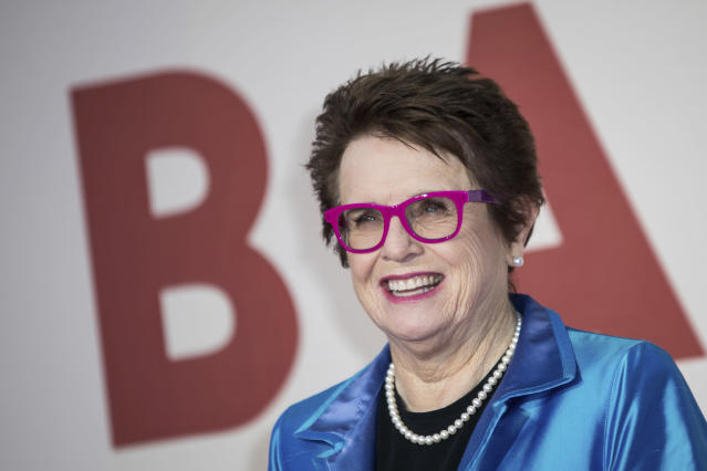 "FILE - In this Oct. 7, 2017 file photo, tennis great Billie Jean King poses for photographers upon arrival at the premiere of the film ""Battle of the Sexes"" during the London Film Festival. King and former NBA star Kareem Abdul-Jabbar are lending their names to Athlete Ally, a nonprofit targeting homophobia in sports. (Photo by Vianney Le Caer/Invision/AP, File)"