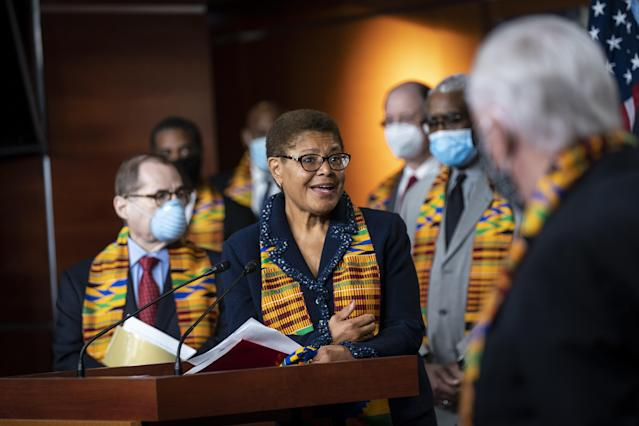 Rep. Karen Bass, a Democrat from California and chair of the Congressional Black Caucus. (Al Drago/Bloomberg via Getty Images)