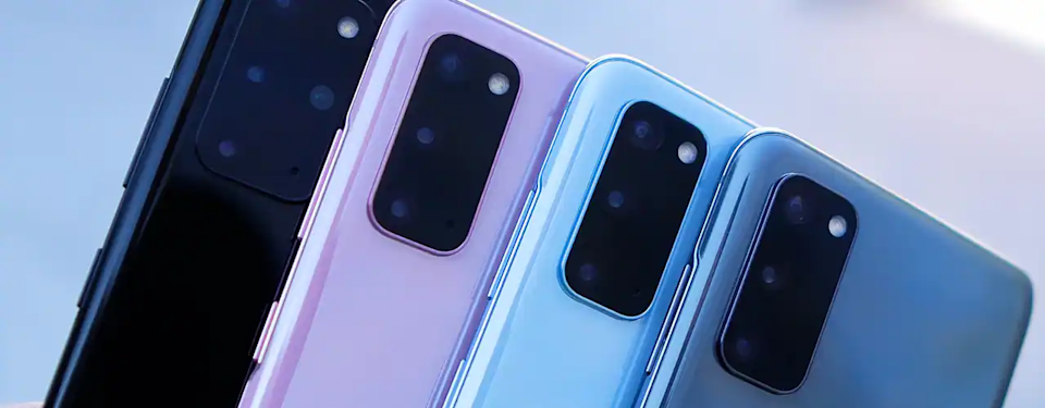 Samsung Galaxy 20 phones in many colors