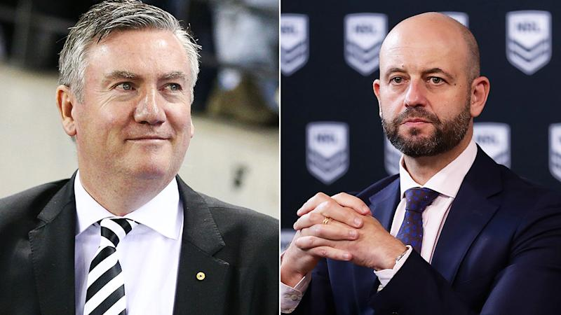 Eddie McGuire is refusing to criticise the NRL's decision to push ahead with its season. Pic: Getty