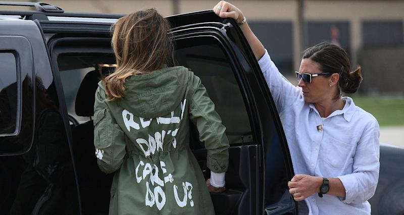 Melania Trump climbs into her motorcade after traveling to Texas to visit facilities that house children taken from their parents at the U.S.-Mexico border. (Mandel Ngan/AFP/Getty Images)