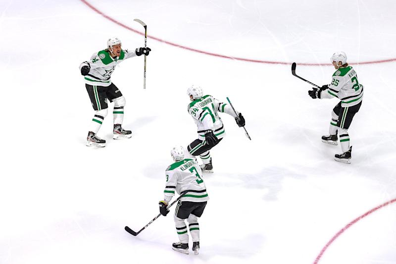 Denis Gurianov celebrates his game-winner in overtime that sent the Dallas Stars to the Stanley Cup Final.
