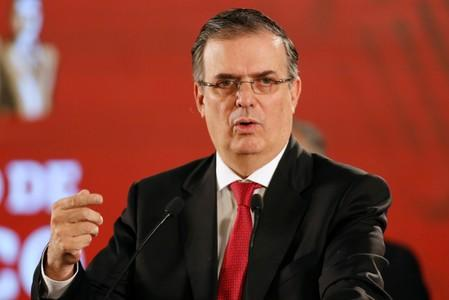 Mexico's Foreign Minister Marcelo Ebrard speaks during a news conference at the National Palace in Mexico City