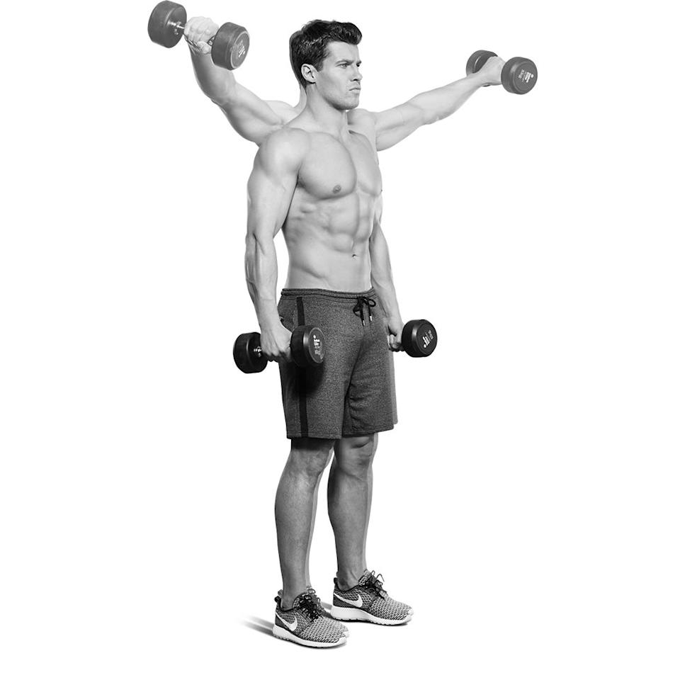 <p>Hold a pair of dumbbells at your thighs (A). Keeping your shoulder blades squeezed, lift to the sides (B), then lower. Now, raise them out at 45°, then lower. Raise them out in front of you. That's one rep.<br></p>
