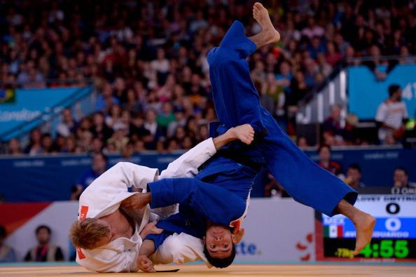 Dmytro Solovey of Ukraine and Eduardo Avila Sanchez of Mexico compete in the Men's 73kg Judo Semifinals on day 2 of the London 2012 Paralympic Games at ExCel on August 31, 2012 in London, England. (Photo by Dennis Grombkowski/Getty Images)
