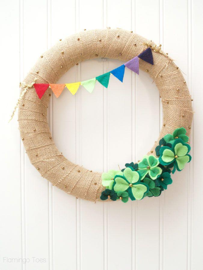 """<p>You'll love the clever references to all things Irish on this sweet wreath, including the rainbow pennant, gold beads, and felt shamrocks.</p><p><strong>Get the tutorial at <a href=""""https://flamingotoes.com/lucky-shamrocks-st-patricks-day-wreath/"""" rel=""""nofollow noopener"""" target=""""_blank"""" data-ylk=""""slk:Flamingo Toes"""" class=""""link rapid-noclick-resp"""">Flamingo Toes</a>.</strong></p><p><strong><a class=""""link rapid-noclick-resp"""" href=""""https://go.redirectingat.com?id=74968X1596630&url=https%3A%2F%2Fwww.walmart.com%2Fsearch%2F%3Fquery%3Dgreen%2Bfelt&sref=https%3A%2F%2Fwww.thepioneerwoman.com%2Fhome-lifestyle%2Fcrafts-diy%2Fg34931626%2Fst-patricks-day-decorations%2F"""" rel=""""nofollow noopener"""" target=""""_blank"""" data-ylk=""""slk:SHOP GREEN FELT"""">SHOP GREEN FELT</a><br></strong></p>"""