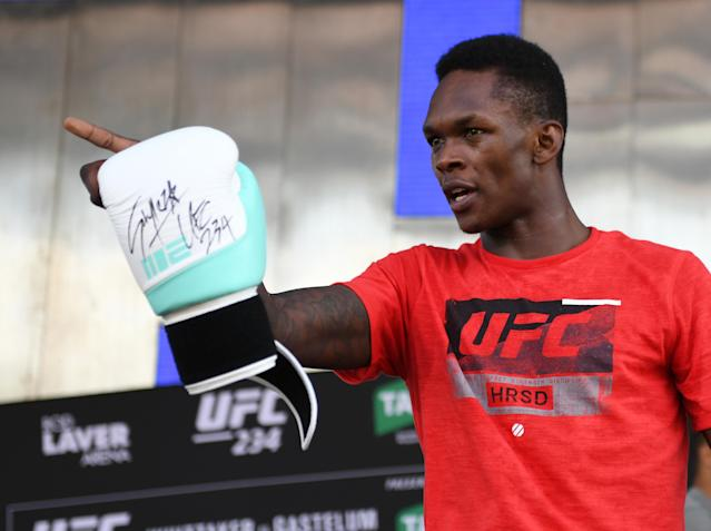 Israel Adesanya of Nigeria during his UFC 234 workout session at Federation Square on February 07, 2019 in Melbourne, Australia. (Vince Caligiuri/Zuffa LLC/Zuffa LLC)