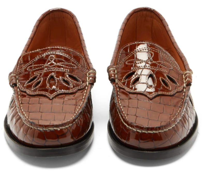 GANNI Crocodile-Effect Patent Leather Penny Loafers