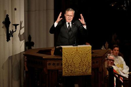 Former Florida Governor Jeb Bush speaks during the eulogy at funeral service for his mother, former first lady Barbara Bush at St. Martin's Episcopal Church in Houston, Texas, U.S., April 21, 2018.  David J. Phillip/Pool via Reuters