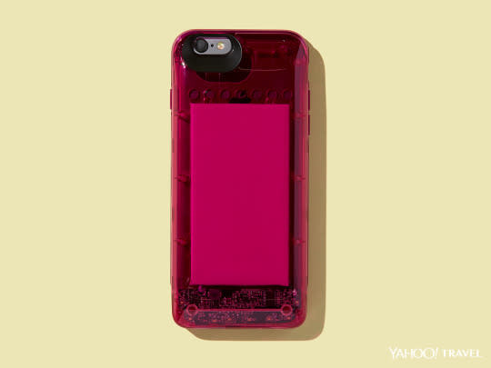 """<p>No more running out of cell phone charge halfway through the day. This <a href=""""http://boostcase.com/fallwinter15/"""" rel=""""nofollow noopener"""" target=""""_blank"""" data-ylk=""""slk:charger"""" class=""""link rapid-noclick-resp"""">charger</a> adds more than 100 percent battery life to your iPhone, thanks to a sleek, see-through charger sleeve that slides onto the snap case. The new collection is inspired by gemstones, with a transparent bottom peeking through to the battery circuit — very futuristic. <i>(Photo: Jon Paterson for Yahoo Travel)</i></p>"""