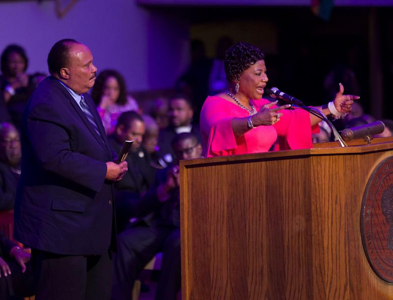 Two of Dr. Martin Luther King Jr.'s children, Martin Luther King III and Bernice King, speak at Mason Temple Church of God in Christ on April 3. Their father gave his final speech in that church on April 3, 1968, before he was assassinated the next day.