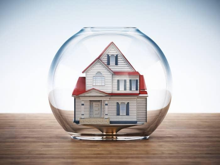 A model house in a bubble