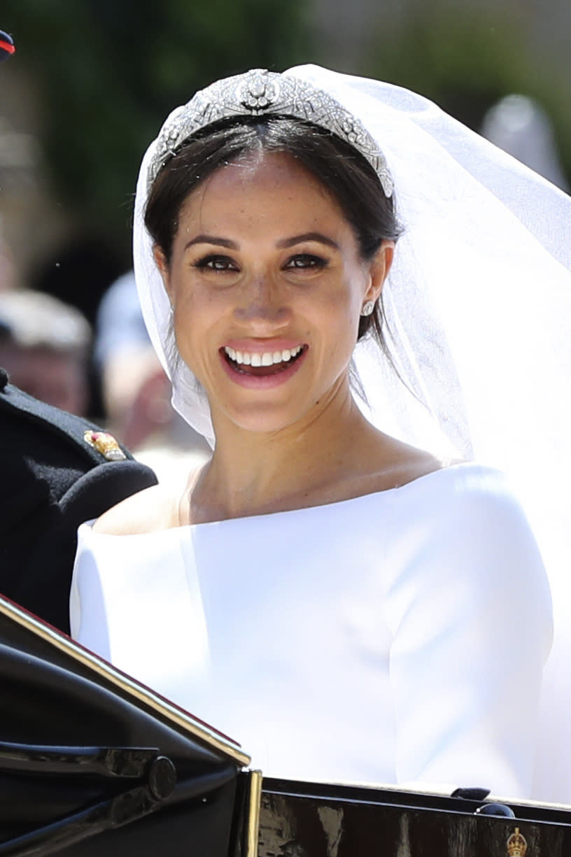 The diamond bandeau Markle wore was made for Queen Mary, who was crowned with husband King George V in 1911.