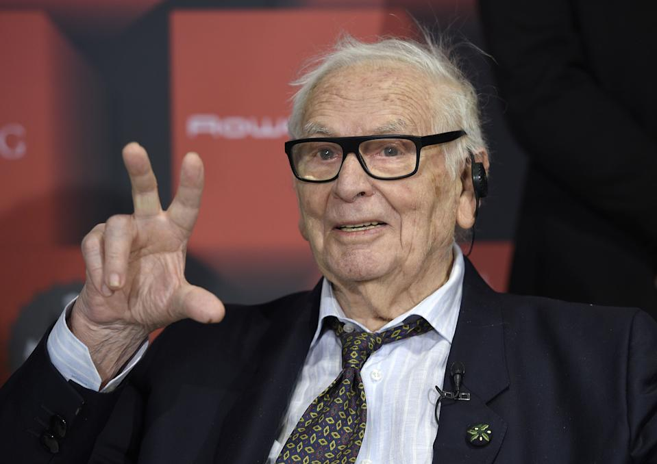 French fashion designer Pierre Cardin gestures during a press conference in Barcelona on Jan. 30, 2017.