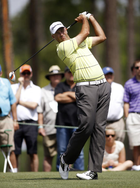 Stewart Cink tees off on the fourth hole during the second round of the Houston Open golf tournament on Friday, March 29, 2013, in Humble, Texas. (AP Photo/Jon Eilts)