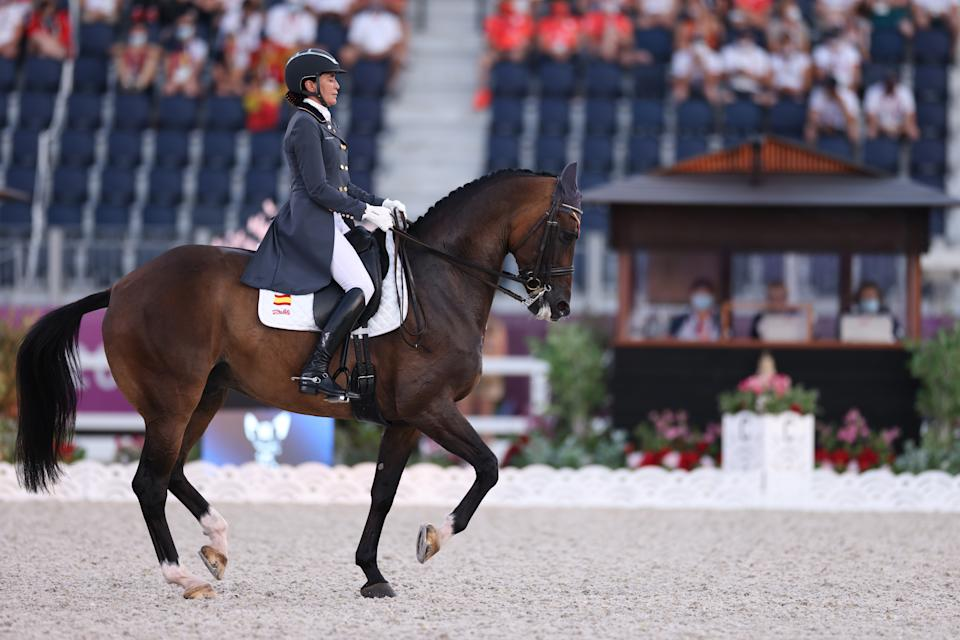 TOKYO, JAPAN - JULY 28: Beatriz Ferrer-Salat of Team Spain riding Elegance competes in the Dressage Individual Grand Prix Freestyle Final on day five of the Tokyo 2020 Olympic Games at Equestrian Park on July 28, 2021 in Tokyo, Japan. (Photo by Leon Neal/Getty Images)