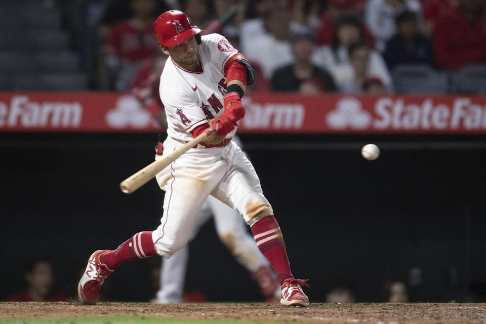 David Fletcher hits a run-scoring double for the Angels in a win over the Detroit Tigers on Saturday.