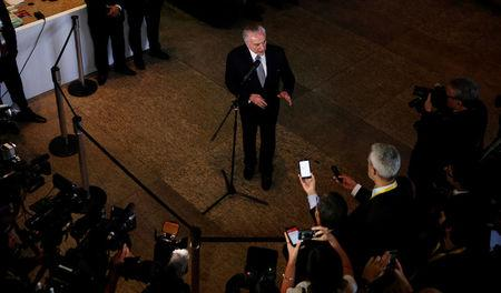 Brazil's President Michel Temer talks to the journalists during an impromptu news conference in Sao Paulo, Brazil, April 4, 2017. REUTERS/Nacho Doce