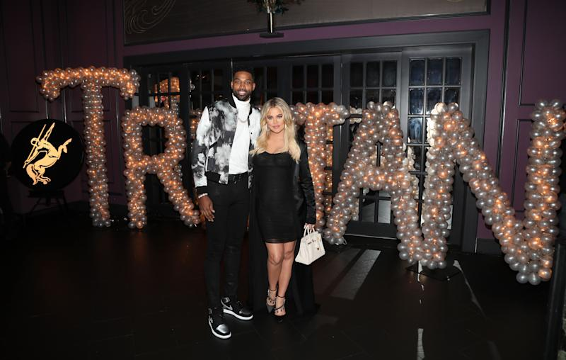Khloe Kardashian and Tristan Thompson on the red carpet