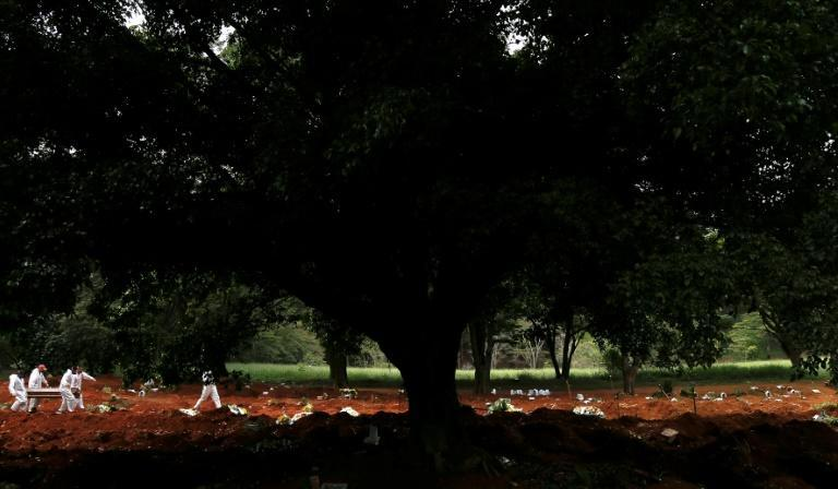 A burial at dusk at Sao Paulo's giant Vila Formosa cemetery: in March, it peaked at 105 burials in a single day, three times the pre-pandemic average