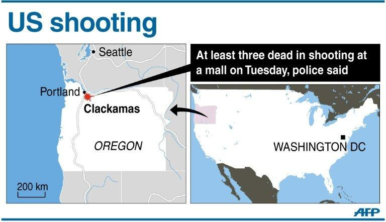 Graphic locating Clackamas in the western US state of Oregon, where a masked gunman openen fire at a mall on Tuesday and killed at least two people before apparently turning the gun on himself, police said